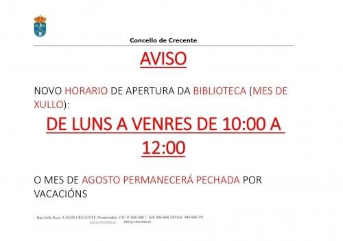NOVO HORARIO BIBLIOTECA